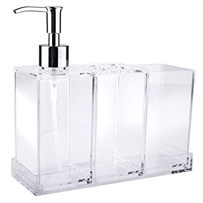 MyGift Clear Acrylic Bathroom Accessory Set 4-Piece, Toothbrush Holder, Lotion Dispenser, Tumbler and Tray - A 4 piece modern bathroom accessories set made of clear acrylic. Comes complete with 1 liquid soap or lotion dispenser, 1 toothbrush holder, 1 tumbler, and 1 tray. Perfect for keeping your toiletries organized and easy to access on your bathroom counter. - bathroom-accessory-sets, bathroom-accessories, bathroom - 41BUo7cw0bL. SS400  -