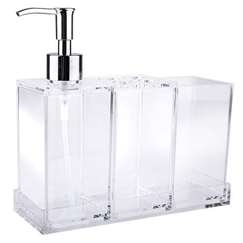 41BUo7cw0bL - Clear Acrylic Bathroom Accessory Set 4-Piece, Toothbrush Holder, Lotion Dispenser, Tumbler and Tray