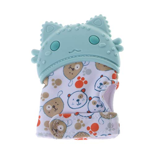 Forgun Baby Teether Gloves Animal Cute Cartoon Newborn Teething Oral Care Teeth Glove Mitten Adjustable Pain Relief Products Squeaky Toys Sound Silicone BPA Free