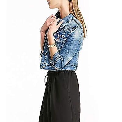 SUSIELADY Women Casual Denim Jacket Jeans Tops Half Sleeve Trucker Coat Outerwear Girls Fashion Slim Outercoat Windbreaker at Women's Coats Shop