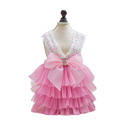 uxcell Small Dog Princess Tutu Dress Pet Clothes Puppy Wedding Party Skirts Pink M by uxcell