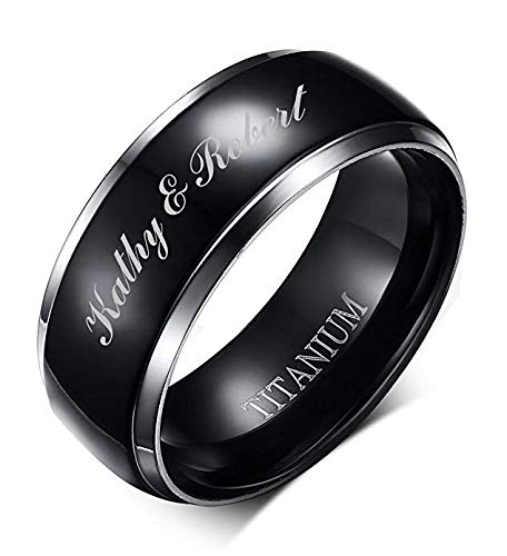 Custom Ring Finger Two (MP Personalized 8mm Pure Black Titanium Ring for Men,Black Center with 2 Silver Edge Line,Customised Engraving)
