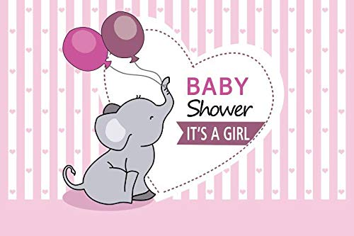 Yeele 5x3ft Baby Shower Photography Background It's A Girl Little Girl Pink Balloon Gray Elephant Pink and White Vertical Stripes Photo Backdrops Pictures Adult Artistic Portrait Photoshoot Props