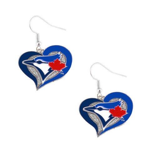 (Officially Licensed Swirl Heart Earrings Toronto Blue Jays)
