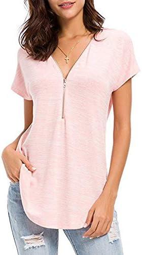 Dehots damska koszulka z krÓtkim rękawem, top, tunika, bluzka, t-shirt z krÓtkim rękawem, luźny dekolt w serek, lato: Odzież