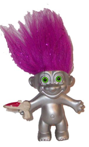 Troll Doll Naked Metallic Alien w/ Ray Gun & Metallic Purple Hair by Russ 4.5