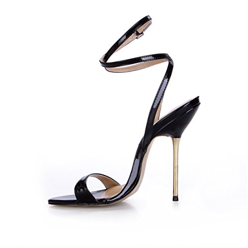 LBD Court SM00293 DolphineGirl High Sandals Black Ladies Heel Black Shoes Ankle Women's Strap r88ZgPzq