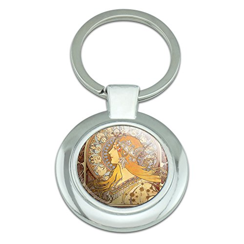 Graphics and More Zodiac Alphonse Mucha Art Nouveau Classy Round Chrome Plated Metal Keychain