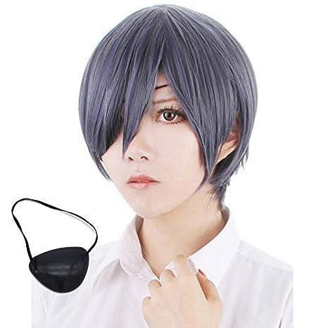 Black Butler Kuroshitsuji CIEL Cosplay Wig blue mix gray 2 Ponytails Wig