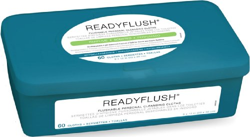 Wipes Adult (Medline ReadyFlush Large Adult-Sized 8x12 Personal Cleansing Cloths - Tub of 60 Flushable Wipes)