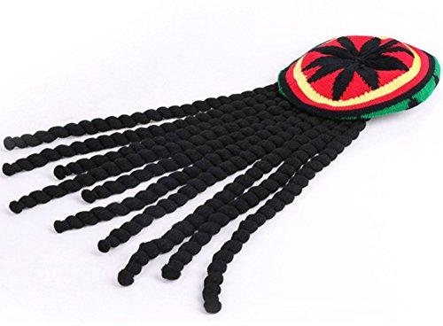 Zeroyoyo Reggae Jamaican Style Rasta Hat Beret Cap with Dreadlocks Wig