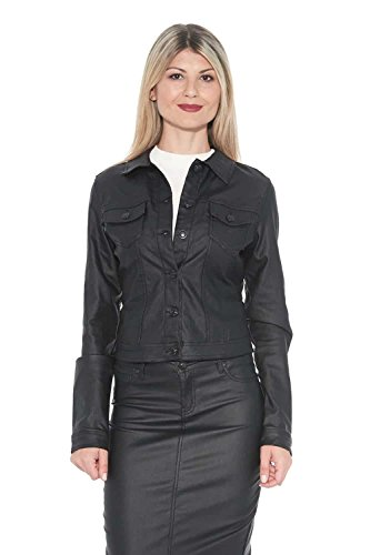 Coated Jacket Twill - Suko Jeans Stretch Twill Jacket for Women Wax Coated 96380ST Black Large