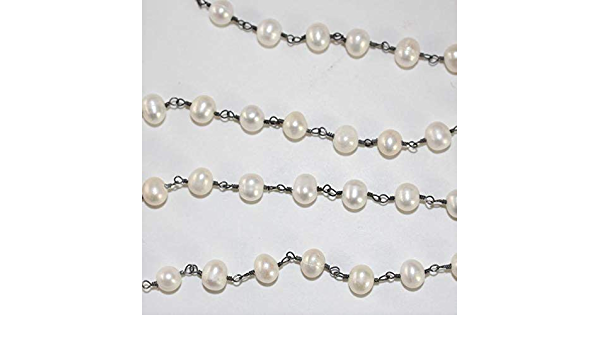 jewelry making supplies,Beaded Chain 5 Feet Pearl  Beads Dangling With Black  Plated Wire Rosary Beaded Chain 2mm,rosary chain