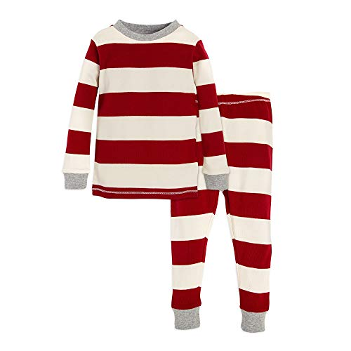 Christmas Pjs For Kids (Burt's Bees Baby Baby Toddler & Kids Pajamas, Tee and Pant 2-Piece PJ Set, 100% Organic Cotton, Red Rugby Stripe,)