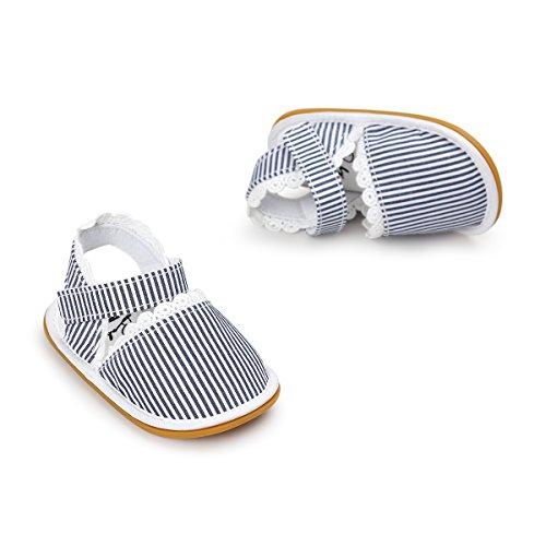 Itaar bebé niñas sandalias primavera verano zapatos antideslizante suela de goma suave para bebés niños primera caminantes Floral Talla:12-18 meses azul a rayas