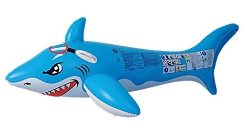 71 Blue and White Shark Rider Inflatable Swimming Pool Float Toy with Handles by Pool Central