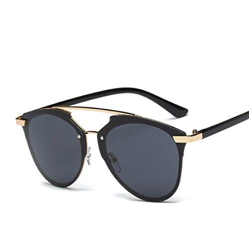 Lunettes de soleil,LHWY Retro Vintage à la mode lunettes lunettes de soleil aviateur miroir lentille (Or, C)