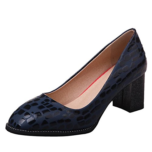 Charm Foot Womens Comfort Chunky High Heel Pumps Shoes Blue cNkXBI