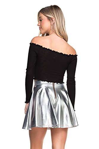 Women's J2 Love Faux Leather Back Gold Zip Mini Skater Skirt, Medium, Silver -