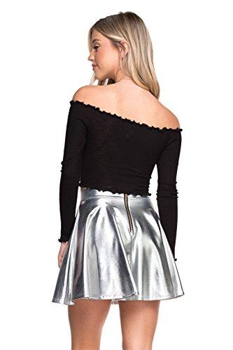 Skirt Zip Back A-line (Cemi Ceri Women's J2 Love Faux Leather Back Gold Zip Mini Skater Skirt, Small, Silver)