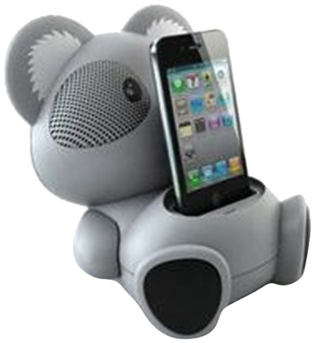 Impecca AS602 6-Watt Universal Portable Stereo Speaker with Aux-Input and 30-Pin Dock, Koala Character (Ipod Dock)