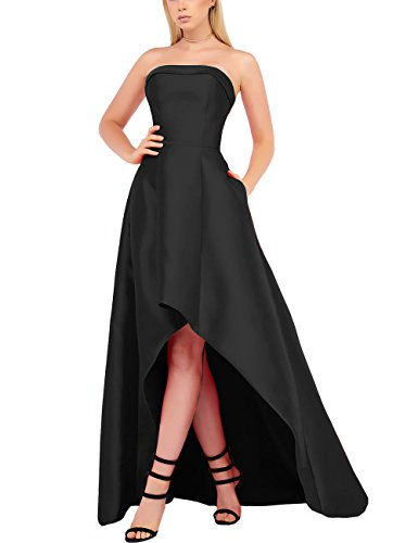 Women's Hi Lo Prom Dress Long All Black Satin Evening Dress Plus Size Strapless Homecoming Dress With Pockets (All Black,14)