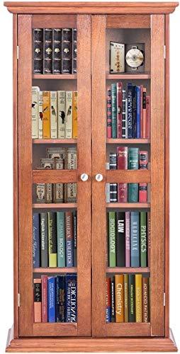 - Diamondgift Bookcase Wood Storage Cabinet Shelves Media CD DVD Organizer Double Glass Doors