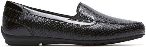 Rockport Womens Tmd Flat Moc Shoes Black Snake