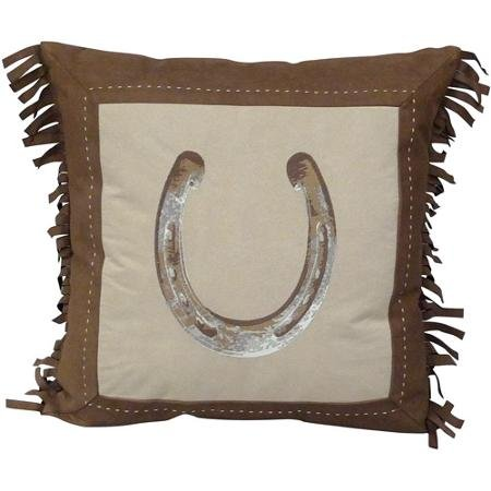 Better Homes and Gardens Faux Suede Horseshoe Decorative Pillow with Fringe, Chocolate by Better Homes & Gardens