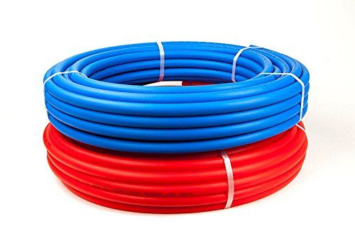1/2-Inch Pex Tubing Combo - 100' Blue 100 Feet Red Flexible Tubing - 200 Feet of Water Polyethylene Tube Pipes -  Non-Barrier Flexible Flow Coil Pipe - PEX-B 1/2
