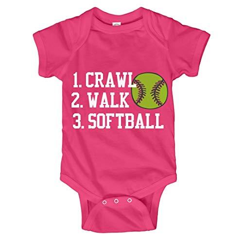 Softball Onesie (Customized Girl Crawl, Walk, Softball: Infant Bodysuit)