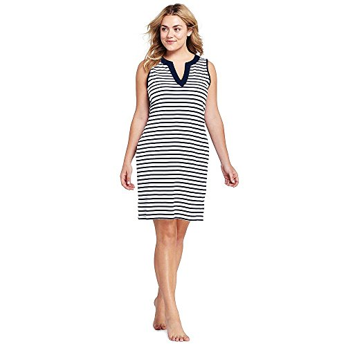 97ada7f5083d9 Lands  End Women s Plus Size Cotton Jersey Sleeveless Tunic Dress Swim Cover -up Print. Tap to expand