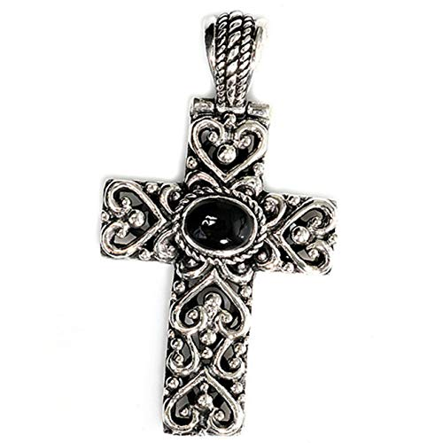 Heart Cross Pendant Black Simulated Onyx .925 Sterling Silver Charm Vintage Crafting Pendant Jewelry Making Supplies - DIY for Necklace Bracelet Accessories by CharmingSS