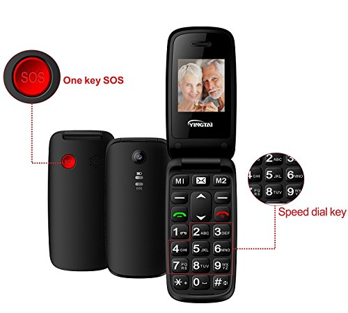 YINGTAI - T15A 2G Teclas Grandes Flip Móvil para Personas Mayores - GSM 850/900/1800/1900 Telefono Móvil Libre - Dual SIM Celular con Botón SOS , Linterna , FM etc