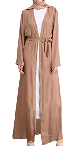 Coolred-femmes Ouvert Avant Bandage De Dinde À Manches Longues Robes Oversize Kaki