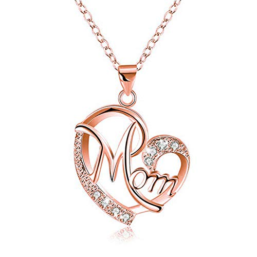 Heart Necklace, Morenitor Rose Gold Plated Letter Mom Love Pendant with Shining Diamond Necklace Jewelry Gifts for Women Girls