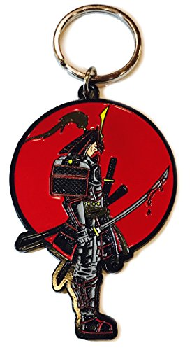 Hat Shark Japanese Warrior Samurai with Bloody Sword Enamel Metal Ring Key Chain Keychain