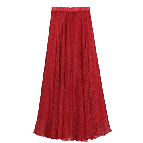 MULLSAN Women Retro Vintage Double Layer Chiffon Pleat Maxi Long Skirt Dress (A Red)