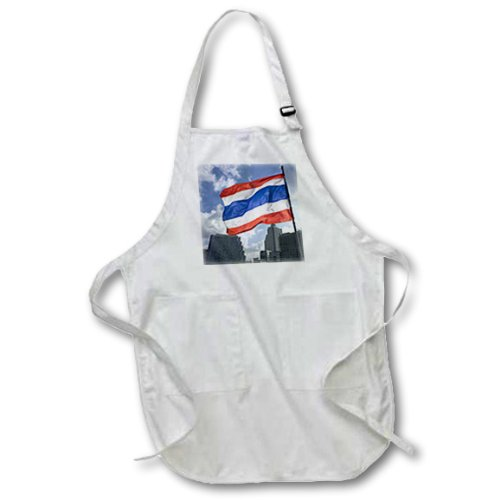 3dRose apr_72068_1 Thai Flag and Kings Flag, Thailand-AS36 RYO0049-Russell Young-Full Length Apron with Pockets, 22 by 30-Inch, White