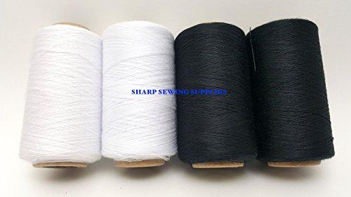 White Serger Sewing Machines (4 Tubes Spun Polyester Serger, Quilting & Sewing Thread 4 Tubes 1000 Yds. Each - BLACK & WHITE Thread!)