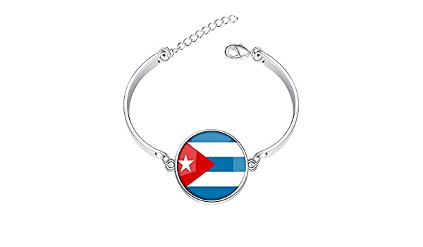 Adjustable Silver Bracelets The Republic of Cuba National Flag 4 Base Colors Selection Hand Chain Link Bracelet Clear Bangle Custom Glass Cabochon Charm