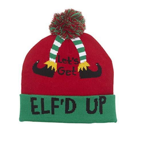 LED Light-Up Christmas & Winter Holiday 'Elf'd Up' Beanie Hat
