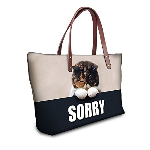 DESIGNS Large Resistant Water Shoulder Black Capacity Fashion Tote FOR Bags Women's Funny U Bags Dog Animal 5wqYCH