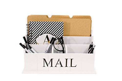Blu Monaco Desk Top Mail, File, Letter Organizer - 3 Tiers White Rustic Country Wooden Desktop - Organize your Life in Style - Shabby Chic Design for the Home - Compartments for Organization (Distressed Wine Box compare prices)