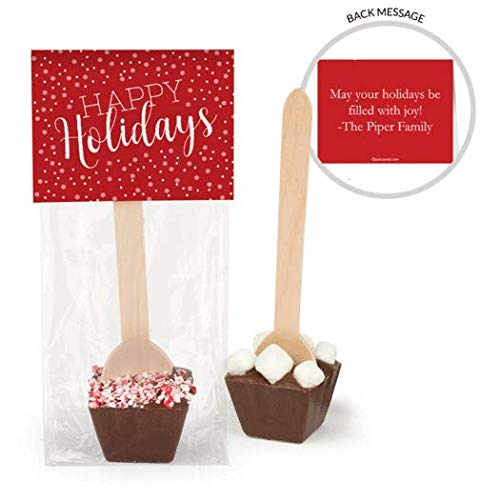 Hot Chocolate Spoons Personalized Happy Holidays Gourmet Dark Chocolate Favors (12 Pack)