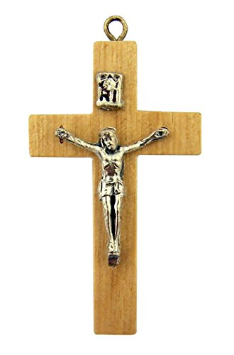 Silver Tone Jesus Christ Corpus on Wood Cross Crucifix Pendant, 1 5/8 Inch - Jesus Christ Corpus Cross