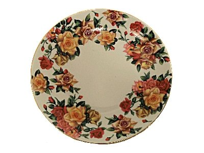 Antique Rose Pattern, Fine China Dessert Plate - Set of 4