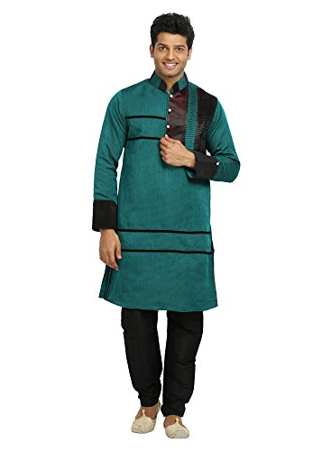 Saris and Things Green Indian Wedding Designer Kurta Pajama Sherwani for Men by Saris and Things