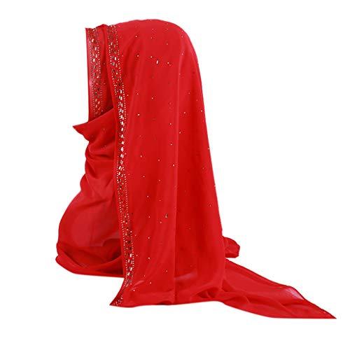 HYIRI Women's Trilby Gangster Muslim Ruffle Hijab Scarf Shawl Head Wrap]()