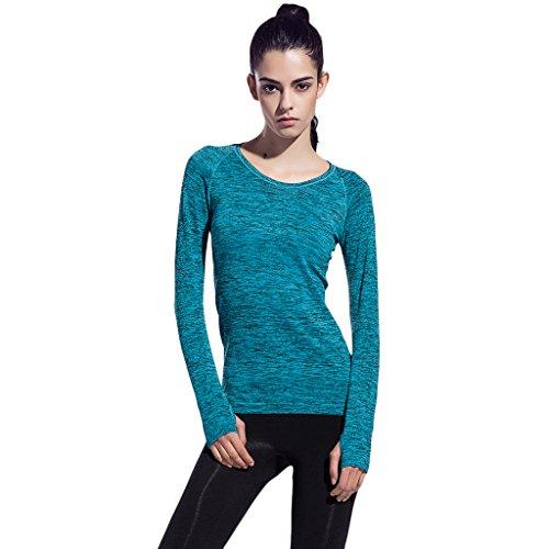 2-Fitness Damen Langarmshirt mit Rundhalsausschnitt Sport Funktionsshirt Blau Medium